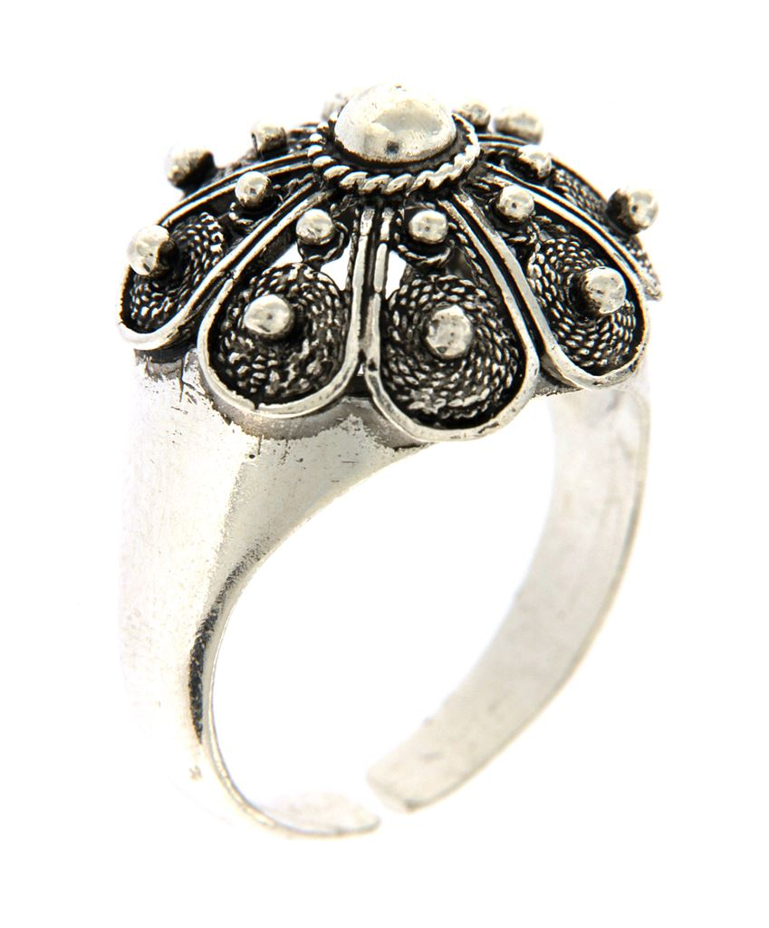 Silver ring with Sardinian button