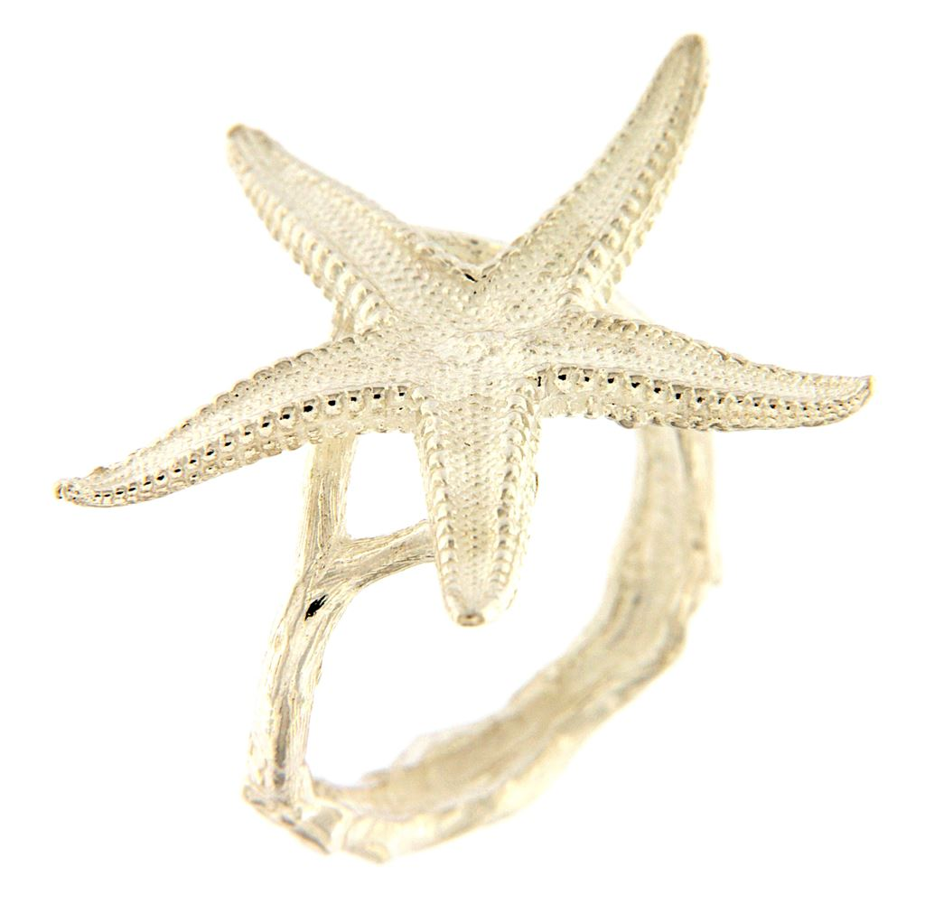 Starfish-shaped silver ring