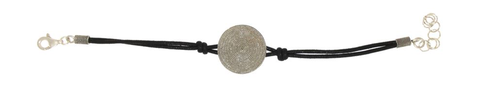 Cotton rope bracelet with silver filigree disc