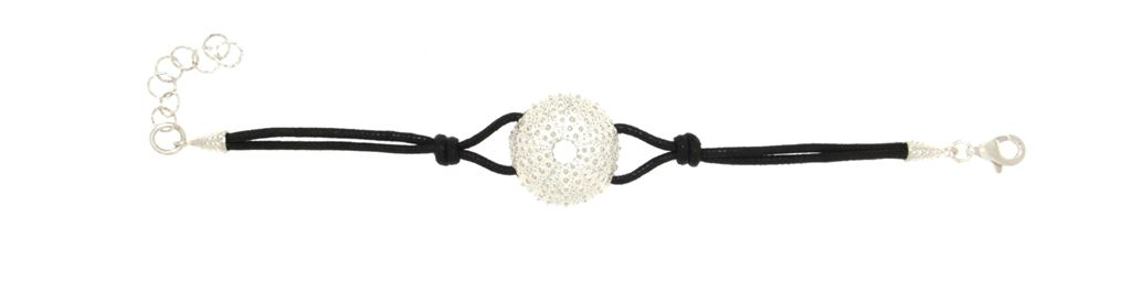 Cotton rope bracelet  with silver sea-urchin