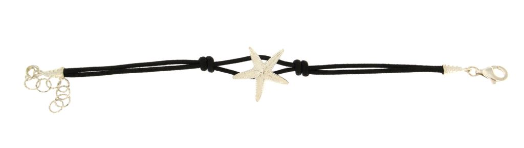 Cotton rope bracelet  with silver starfish