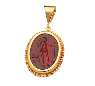 Gold pendant with agate