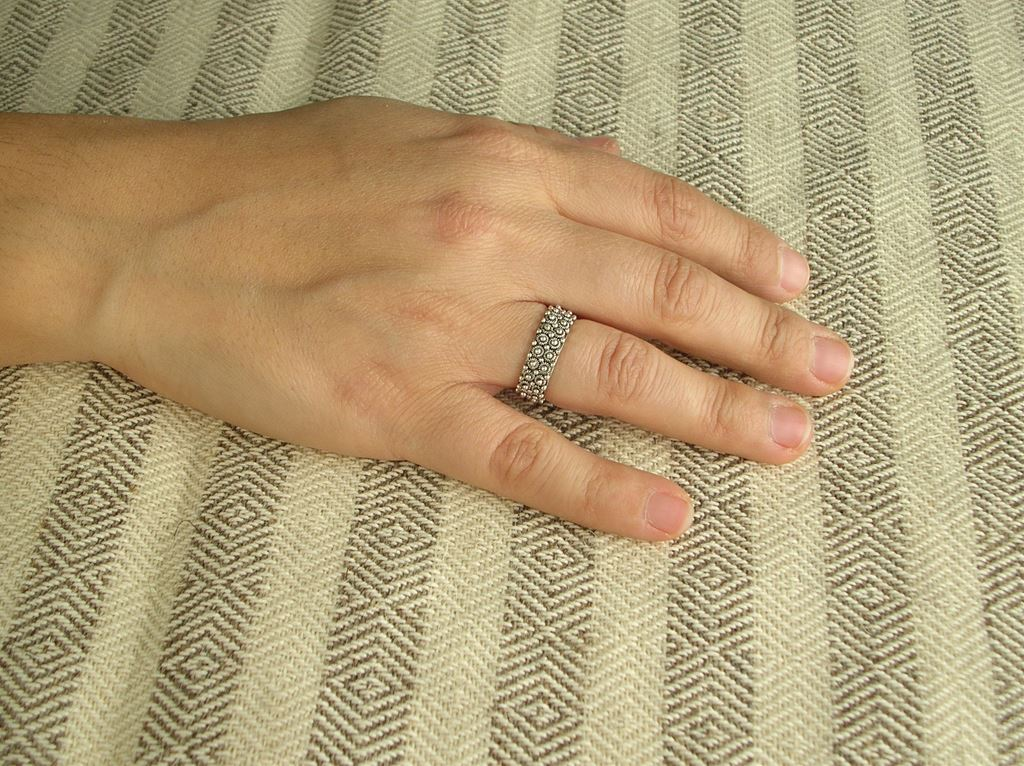 Burnished silver band ring