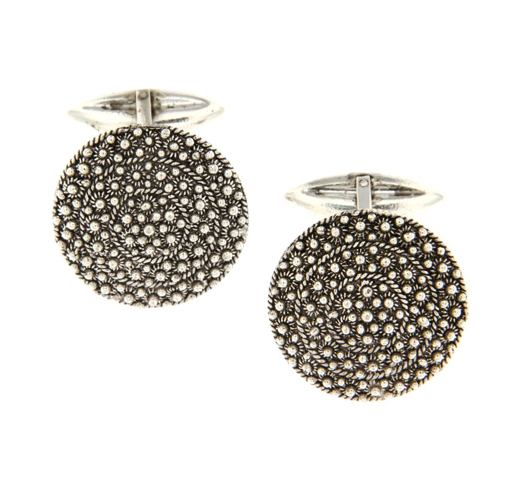 Honeycomb filigree silver cuff link