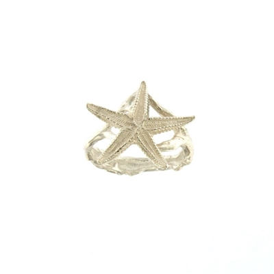 Silver  starfish shaped ring