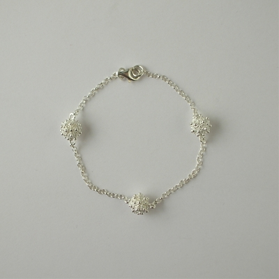 Silver bracelet with honeycomb spheres