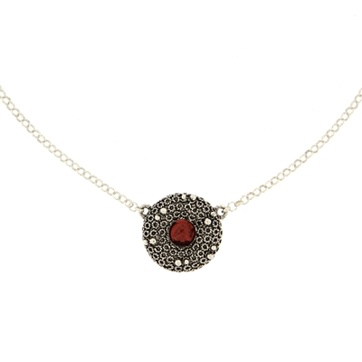 Silver filigree necklace with garnet