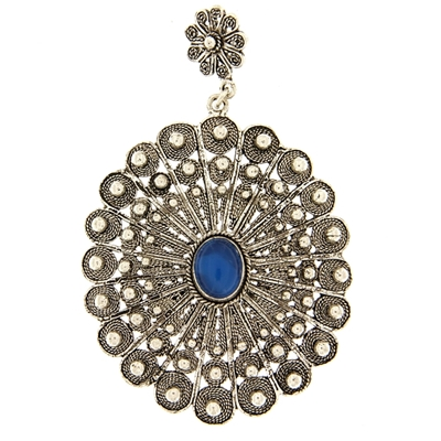Sardinian button pendant with blue agate