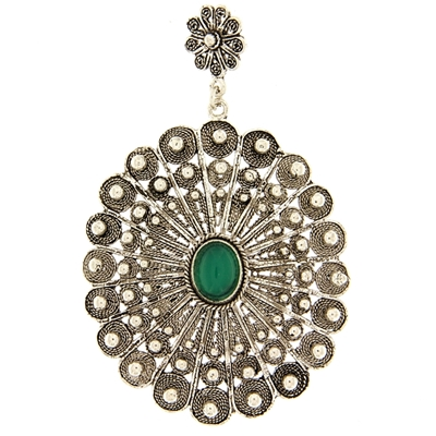 Sardinian button pendant with green agate