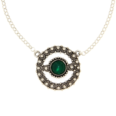 Silver necklace with rolò chain and central element with green agate