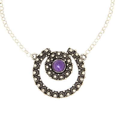Silver necklace with rolò chain and central element with amethyst