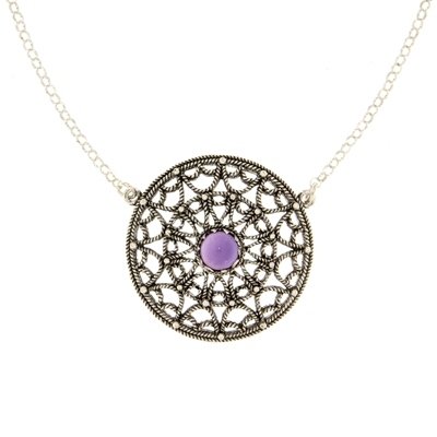 Silver filigree necklace with amethyst