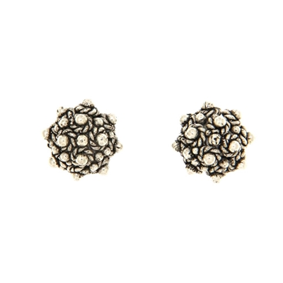 Burnished silver filigree stud earrings
