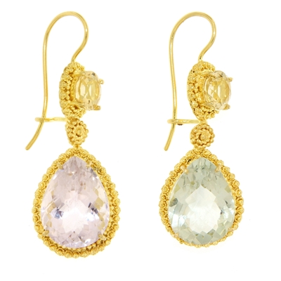 Gold earrings with preciuos stones