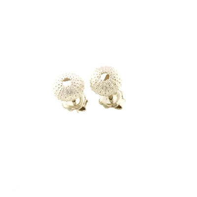 Silver sea urchin-shaped earrings