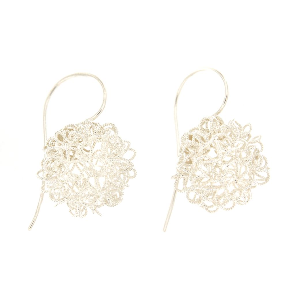 Siver earrings with filigree flocks