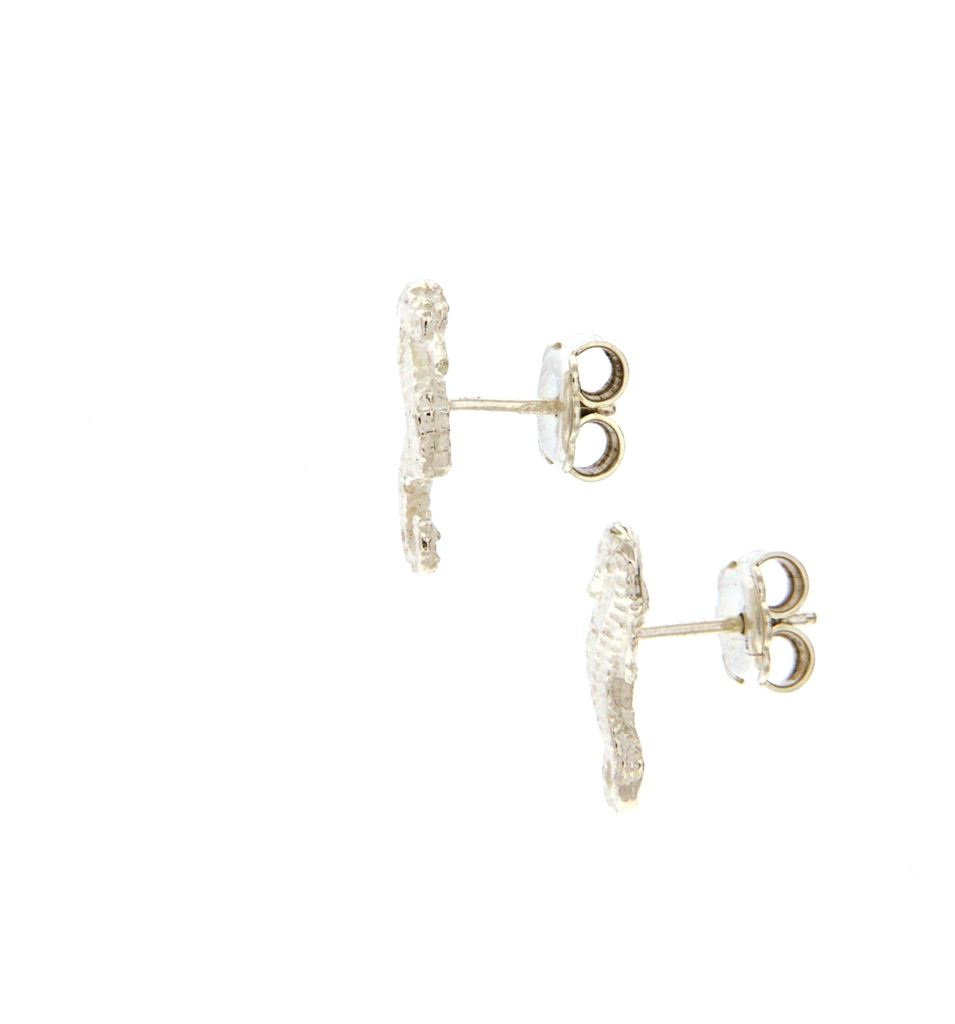 Silver sea horse-shaped earrings